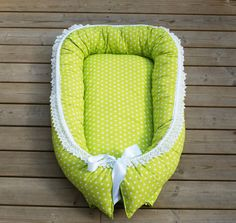 Green star babynest with wool filling, sleep nest for baby, sleep nest, baby bed nest
