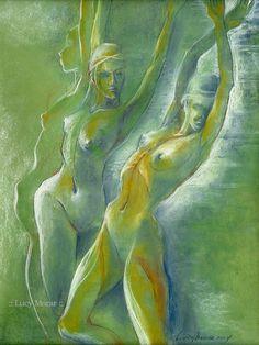 Figures Drawing Female Nude by Lucy Morar / Fine Art Print x / Green / Summer Wind Figure Drawing Female, Female Art, Thing 1, Yellow Art, Thalia, Figure Painting, Erotic Art, Watercolor Illustration, Fine Art America