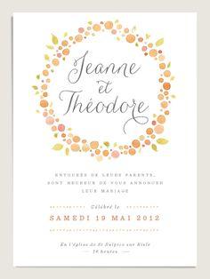 Faire-part de mariage classique et élégant http://www.dioton.fr/faire-part-mariage-original-aquarelle-nectar.html