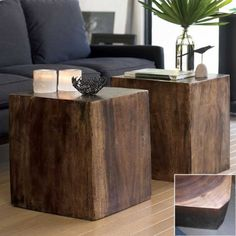 #InspiredGreenLiving - Wood cubes.  Artisans sculpt the trunks of sustainable monkey pod trees to create these versatile, lustrous cubes from a single piece of wood. They fill the need for surface space beside a bed, chair or couch-or grouped, as multi-use tables. Add a cushion if you like, and they become stools. The carvers hollow the trunk's interior and leave enough dense wood where it matters to make them strong and sturdy.