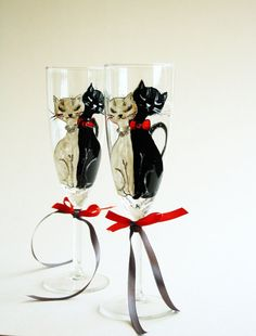 Cats in Love Hand Painted Toasting Vhampagne Flutes Wedding Glasses Set of 2 Black White Red Swarovski Crystals on Etsy, $49.90