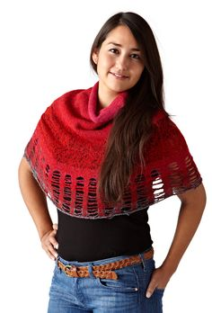 Noel Poncho - knitted with drop stitches and felted.