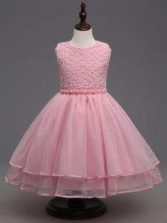 Silhouette:a-line Hemline:floor length Neckline:scoop Fabric:tulle Sleeve Style:sleeveless Color:pink Back Style:zipper up Embellishment:bow pearls Baby Girl Party Dresses, Little Girl Dresses, Girls Dresses, Flower Girl Dresses, Lace Dresses, Flower Girls, Dress Lace, Kids Dress Wear, Kids Gown