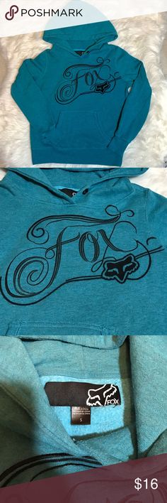 Fox pullover hoodie sweatshirt This is a super cute fox pullover hoodie!  Heathered teal/turquoise color with an awesome embroidered fox design on the front. Light piling at the armpits. Good used condition! No stains, holes. Fox Tops Sweatshirts & Hoodies