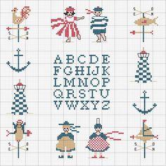 Gallery.ru / Фото #69 - sea - patrizia61 Cross Stitch Sea, Cross Stitch Alphabet, Cross Stitch Charts, Cross Stitch Patterns, Cross Stitching, Cross Stitch Embroidery, Rue Du Port, Navy Cross, Vintage Cross Stitches