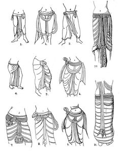 [Styles of dhoti seen in Amaravati sculptures of the Satavahana dynasty]