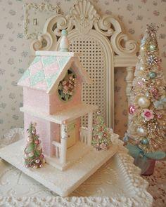 RESERVED for Jennifer  - Shabby Pink Christmas House - Bottle Brush Trees. $42.00, via Etsy.