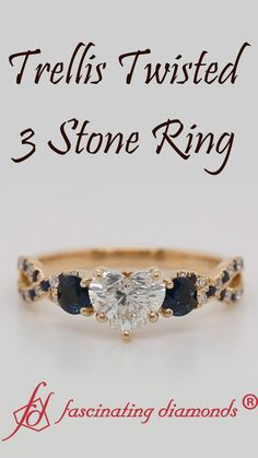 Trellis Twisted 3 Stone Ring - This trellis twisted 3 stone engagement ring strikingly showcases a gorgeous heart shaped diamond a - Heart Shaped Diamond Ring, Diamond Rings, Gold Rings, 3 Stone Engagement Rings, 3 Stone Rings, Best Diamond, Amethyst Stone, Custom Jewelry, Wedding Jewelry