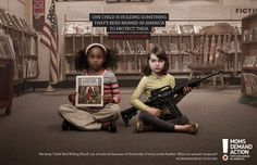 One child is holding something that's been banned in America to protect them...Advertising Agency Grey Toronto PSA for America's MomsDemandAction.org