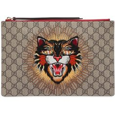 b5117720cfc Gucci Women Angry Cat Patch Gg Supreme Pouch (€505) ❤ liked on Polyvore  featuring bags