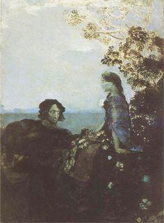 Hamlet and Ophelia - Mikhail Vrubel, 1888