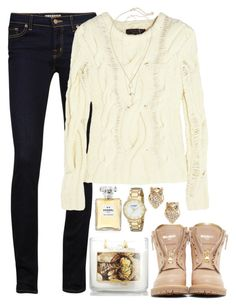 """Thanksgiving Outfit"" by red-velvet-n-pearls ❤ liked on Polyvore featuring J Brand, rag & bone, CO, Balmain, Kendra Scott, Chanel and Kate Spade"