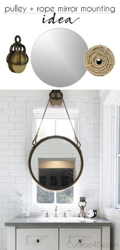 pulley and rope bathroom vanity mirror mounting idea for in front of window