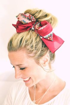 Cute hairstyle for work, maybe with a sock bun and a pretty scarf or bow<3