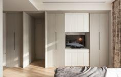 Hinged door wardrobe with TV space. Bedroom Wardrobe, Built In Wardrobe, Shelf Furniture, Furniture Design, Shop Interior Design, Interior Design Living Room, Simple House Design, Master Room, Closet Designs