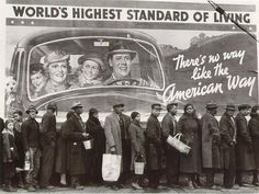 Great Depression irony as people wait in breadline in Ohio 1937