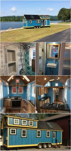 """Young Family Designs Blueridge Tiny House with Timbercraft Tiny Homes -A young family made the decision to move into a tiny house but they knew it would have to be customized to their needs with a young child and so they got help from the pros at Timbercraft Tiny Homes in Guntersville, Alabama. They named the home """"The Blueridge"""" and painted it a bold blue color with bright yellow trim for an overall welcoming and cheerful tiny house on wheels."""