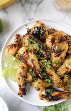 Honeyed Mango Hot Wings with Cilantro Lime Yogurt Dip
