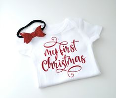 My Christmas Onesie & Headband Christmas Onesie, My First Christmas, My Face Book, Heat Transfer Vinyl, Personalized Baby, Newborn Photography, New Baby Products, Onesies, Cricut