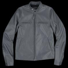 Golden Bear x UNIONMADE - Harris Tweed Lined Lamba Leather Band Collar Moto Jacket in Grey