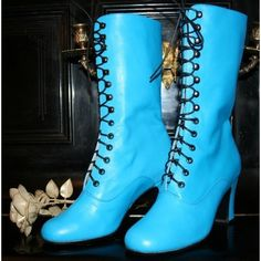 Sale Victorian Boots lace up in Turquoise leather , only for size 7 US... ($130) ❤ liked on Polyvore