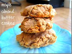 """Makes a """"baby batch"""" of 4 cookies  1/2 cup regular oats  1/2 cup flour  1/2 teaspoon baking powder  1/4 teaspoon cinnamon  1/4 cup smooth almond butter (peanut butter would work too)  2 tablespoons pure maple syrup  1 tablespoon canola oil  1/2 teaspoon vanilla extract"""