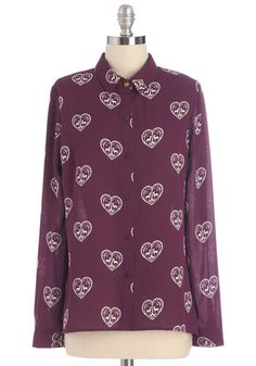 Fresh Prance Top by Sugarhill Boutique - Purple, Long Sleeve, Novelty Print, Buttons, Casual, Long Sleeve, Collared