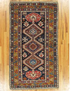 "Shirvan rug,Eastern Caucasus,circa 1880, 6'.6""x3'.8"" (198x112 cm)."