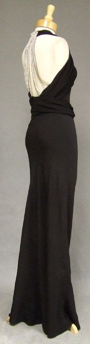Black Crepe 1930's Evening Gown w/ Dripping Rhinestone Back(415)