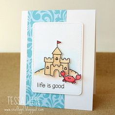 card summer beach sea seaside sand castle crab - Lawn Fawn Life Is Good stamp set - Sand Castle Card | by Tessa Wise