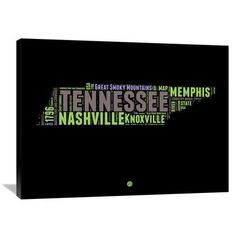 "Naxart 'Tennessee Word Cloud 1' Textual Art on Wrapped Canvas Size: 30"" H x 40"" W x 1.5"" D"