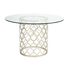 Tracery Dining Table - Ethan Allen US. Round glass dining tables. Metal and glass dining tables.