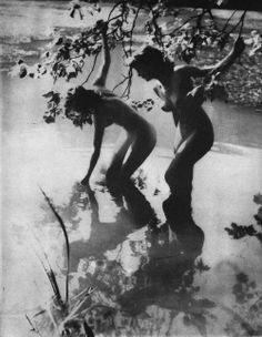 Yvonne Gregory (1889-1970)  Girls Wading, with sunlight playing on leaves and water, 1948