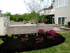 Contrasting colors in the retaining wall, mulch and plantings make for a more interesting landscape!