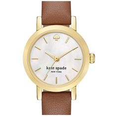 kate spade new york 'metro' leather strap watch, 20mm ($175) ❤ liked on Polyvore featuring jewelry, watches, gold tone watches, kate spade jewelry, gold tone jewelry, leather-strap watches and slim watches