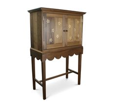 Decorative cabinet constructed in American black walnut with oak and maple inlaid flower pattern. Harvey Furniture, Cabinet Decor, Craft Items, Wooden Boxes, Flower Patterns, Beautiful Things, Furniture Design, Clock, American