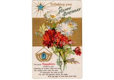 Vintage Embossed September Birthday postcard circa 1910. Features the birthstone Sapphire and Red and White Aster floral design. Card is used. Condition is very good with age toning to the back and ro
