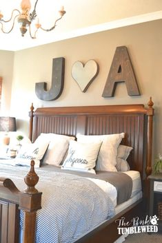 Heart Between His Initial and Her Initial Small Room Bedroom, Bed Room, Bedroom With Bath, Bedroom Wall, Master Bathroom, Bedroom Decor For Couples, Romantic Bedroom Decor, Bedroom Decor On A Budget, White Bedroom Furniture