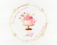 Bakery Business Cards, Cake Business, Business Logo, Business Card Design, Pastry Logo, Cupcake Logo, Cake Logo Design, Calligraphy Logo, Clock Art