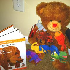 My Brown Bear adapted book. Children pull off pictures of laminated characters(printed online) and then put them on the Velcro spaces of my bear.