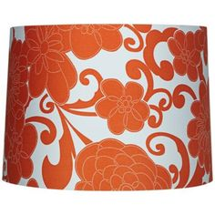 Orange Floral Drum Lamp Shade 13x14x10 (Spider)