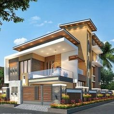 The Best Duplex House Elevation Design Ideas you Must Know Modern Bungalow Exterior, Modern House Facades, Modern Exterior House Designs, Modern Architecture House, Dream House Exterior, Modern House Plans, Indian House Designs, Contemporary Home Exteriors, Indian House Exterior Design