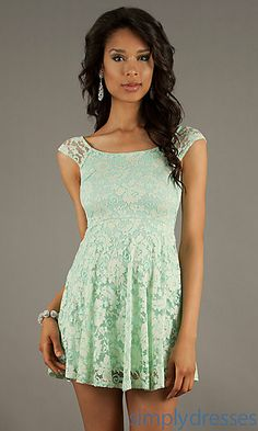 Short Cap Sleeve Lace Dress at SimplyDresses.com