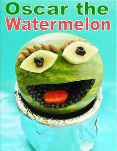 Kitchen Fun With My 3 Sons: Oscar the Grouch Watermelon Summer Parties, Summer Fun, Kid Parties, Watermelon Basket, Watermelon Ideas, Cute Food, Good Food, National Watermelon Day, Buffet