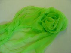 Seidenschals - Seidenschal 230 cm neongrün Chiffonschal Stola - ein Designerstück von textilkreativhof bei DaWanda