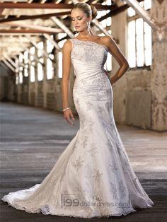 Lace Appliques One-shoulder Trumpet Wedding Dresses