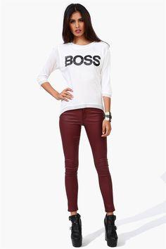 Twilly Skinny Jeans in Burgundy & Boss tee