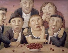 "'Cherry Eaters' (2007) from the series ""The Village Peremilovo, City Pinch"" by Russian painter Vladimir Lyubarov (b.1944). Oil on canvas, 70 х 90 cm. via the artist's site"