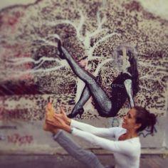 "www.rdvyoga.com  Heron pose - Krounchasana.  ""Therapeutic for flat feet and persistent gas (flatulence)""...  #yoga #krounchasana #paris #ashtanga #fun #streetart #streetyoga"