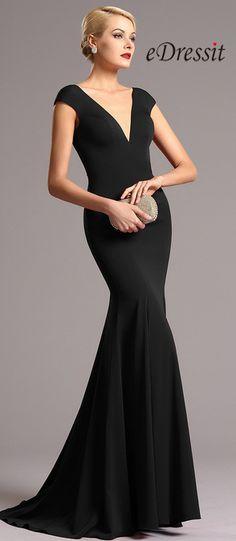 eDressit Black Cap Sleeves Plunging Neckline Formal Dress